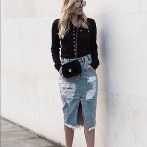 ONE TEASPOON Cadillac Denim Skirt Size 22